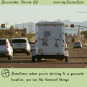 funny truck with a U of A wildcat drawing, photo by M. LaFreniere, all rights reserved, GeocachingCactus